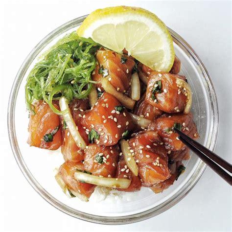 salmon shoyu poke bowl recipe couple eats food