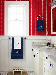 decorating with color red white and blue With red white and blue bathroom accessories