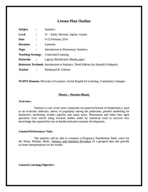 sample lesson plan outline a sample for english lesson plan search results
