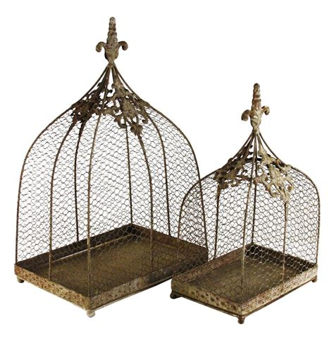 decorate bird cage rustic wire decorative bird cages set of 2 kathy kuo home