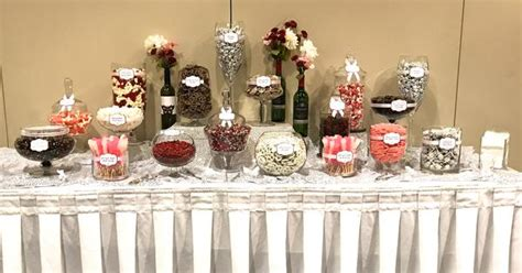 red white blush wine themed wedding candy buffet