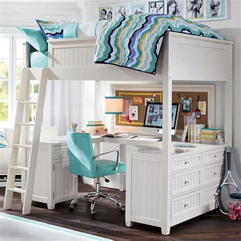Teen Girl Loft Bed with Desk