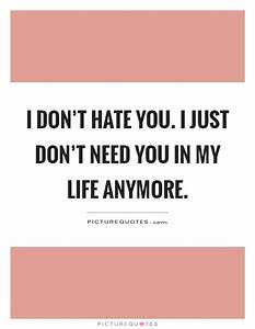I don't hate you. I just don't need you in my life anymore ...