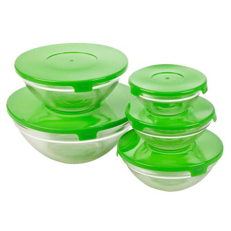 glass bowls with lids set of five glass storage serving mixing bowls containers 3764