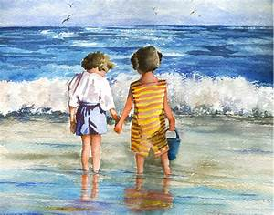 Children Standing by Ocean Edge watercolor painting print
