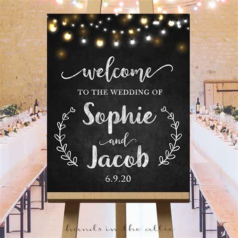 wedding sign fairy lights chalkboard hands