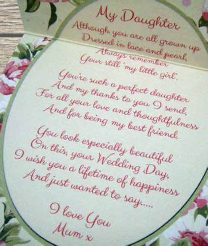 mother   bride gift  daughter sentiments gift card wedding day daughters