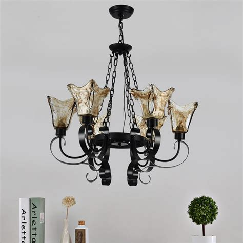 chandelier l shades canada 6 light black wrought iron chandelier with glass shades