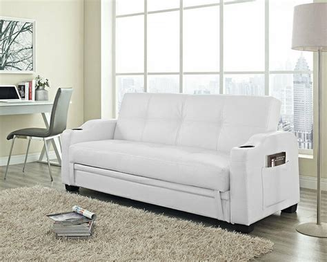 White Leather Sofa Ebay by Modern Sofa Bed White Leather 3 Seater Comfortable