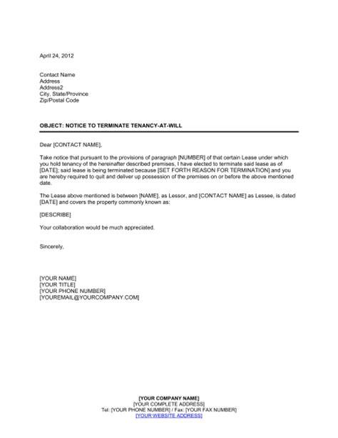 notice  terminate tenancy    landlord template