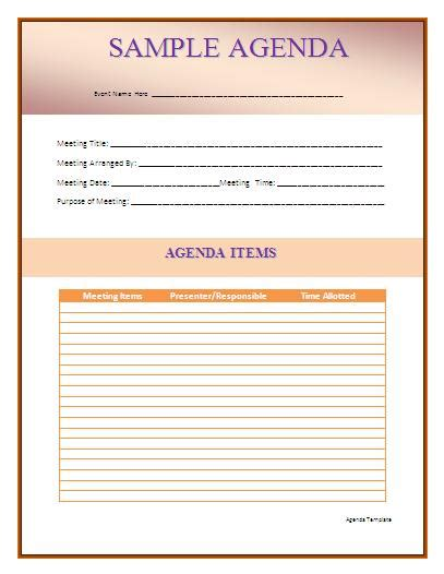 brilliant samples  agenda template word thogati