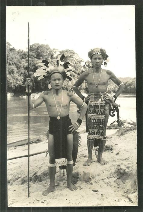 details  dayak warriors tattoo spear sarawak borneo