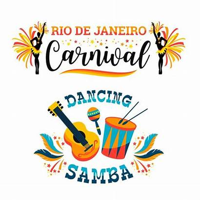 Carnival Vector Brazilian Emblems Samba Vectors Clipart