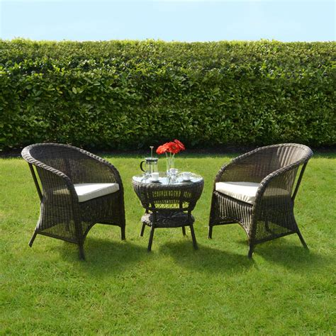 bistro table and chair set marseille wicker rattan coffee table 2 chairs garden