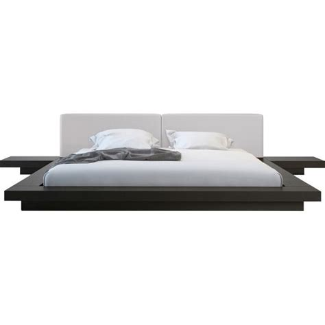 modloft worth platform bed in wenge and dusty grey leather