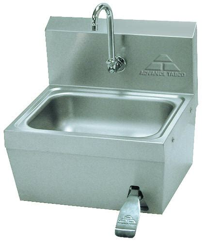 advance tabco knee valve operated hand wash sink splash