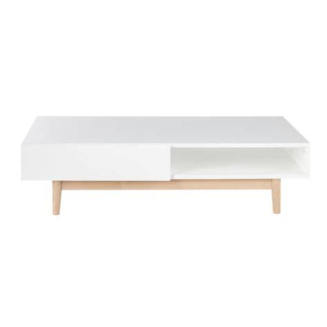 table basse scandinave  tiroirs blanche artic maisons du monde