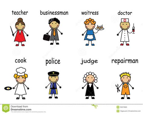 Cartoon People Of Various Professions Stock Vector