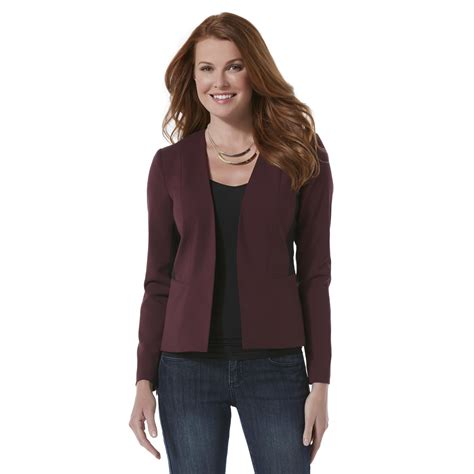 Attention Womens Open Front Blazer Colorblock