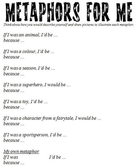 metaphor worksheet great site with many ideas to support
