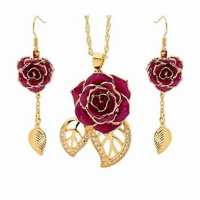 Gold Rose Jewelry Purple Theme Earring Leaf
