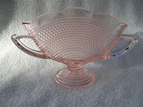 pink depression glass patterns pink depression glass thousand eye pattern fan vase from misssmithvt on ruby lane