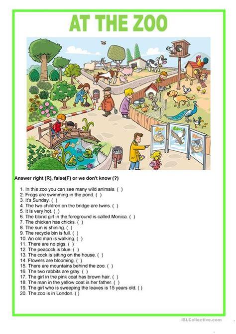 picture description   zoo english esl worksheets