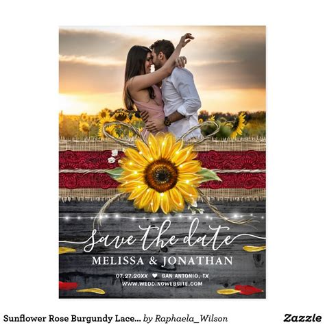 Sunflower Rose Burgundy Lace Rustic Save the Date Postcard