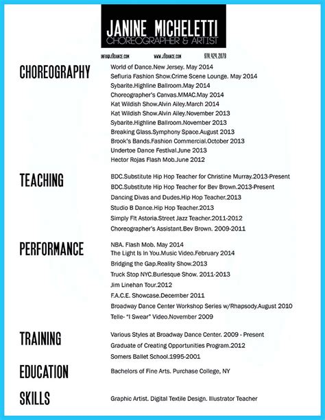 Dancer Resume by Cool The Best And Impressive Resume Exles