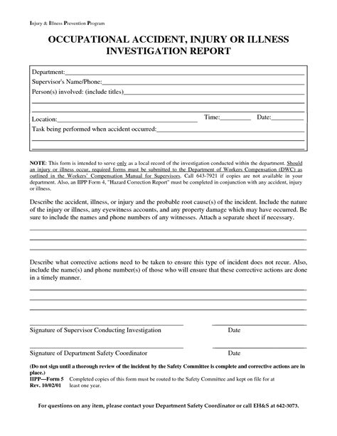Vehicle Investigation Form Template by Best Photos Of Industrial Report Form Template