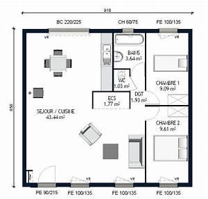 plan maison 70m2 2 chambres plain pied With plan maison plain pied 70m2