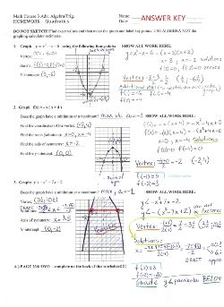 Graphing Quadratic Functions Review Worksheet Answers  Download Them And Try To Solve