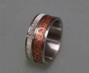 Patina Copper Wedding Band For Men Titanium Ring Bone