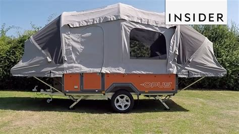 inflatable tent transforms trailer   portable camper