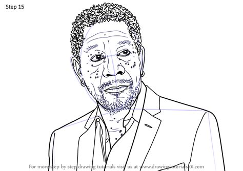 learn   draw morgan freeman celebrities step