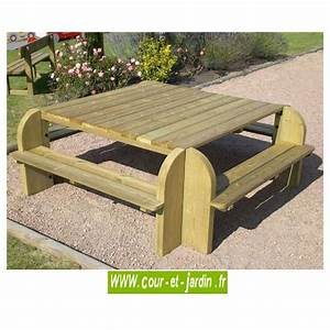 Table Et Banc En Bois : table picnic bois table pique nique avec banc bancs ~ Melissatoandfro.com Idées de Décoration