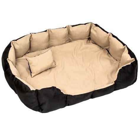 coussin pour chien lit pour chien panier pour chien douillet noir beige taille tectake