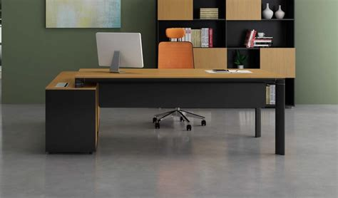 Stylish Office Table With Side Cabinet Boss's Cabin