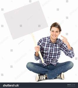 Young Man Holding Blank Poster Stock Photo 71477785 ...
