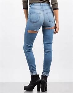 Back Cut Out Skinny Jeans - Light Blue Denim - Ripped Jeans u2013 2020AVE
