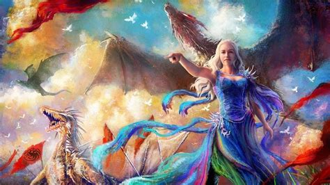 game  thrones daenerys dragon artwork wallpaper
