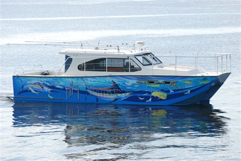 Catamaran Hull Graphics by Guy Harvey Boat Wrap Guy Harvey Artist And Others Well