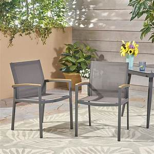 Noble, House, Luton, Gray, Armed, Aluminum, Outdoor, Dining, Chair, 2-pack, -305223