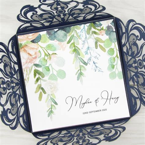 farrah with personalised floral overlay wedding invitation pure invitation wedding invites