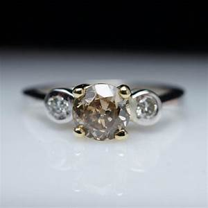 Champagne diamond vintage engagement ring three stone for Colored diamond wedding ring