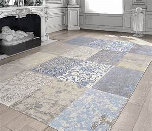 cameo patchwork gustavian blue 8237 louis de poortere With tapis vintage patchwork
