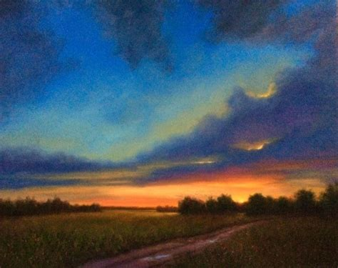 Blue Sky Sunset Painting From Sketch On Location