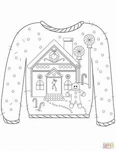 Christmas Ugly Sweater with Gingerbread Man Motif coloring ...