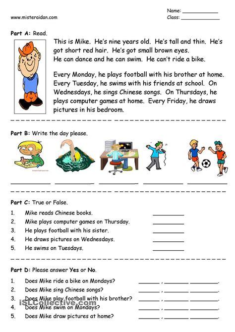 Days Of The Week  Easy Reading Comprehension  Для старшеклассников  Pinterest Reading