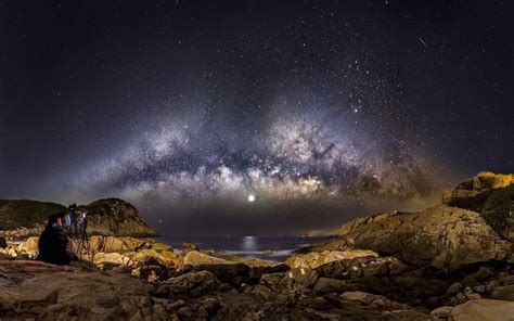 Wallpaper Landscape Sea Galaxy Rock Nature Sky